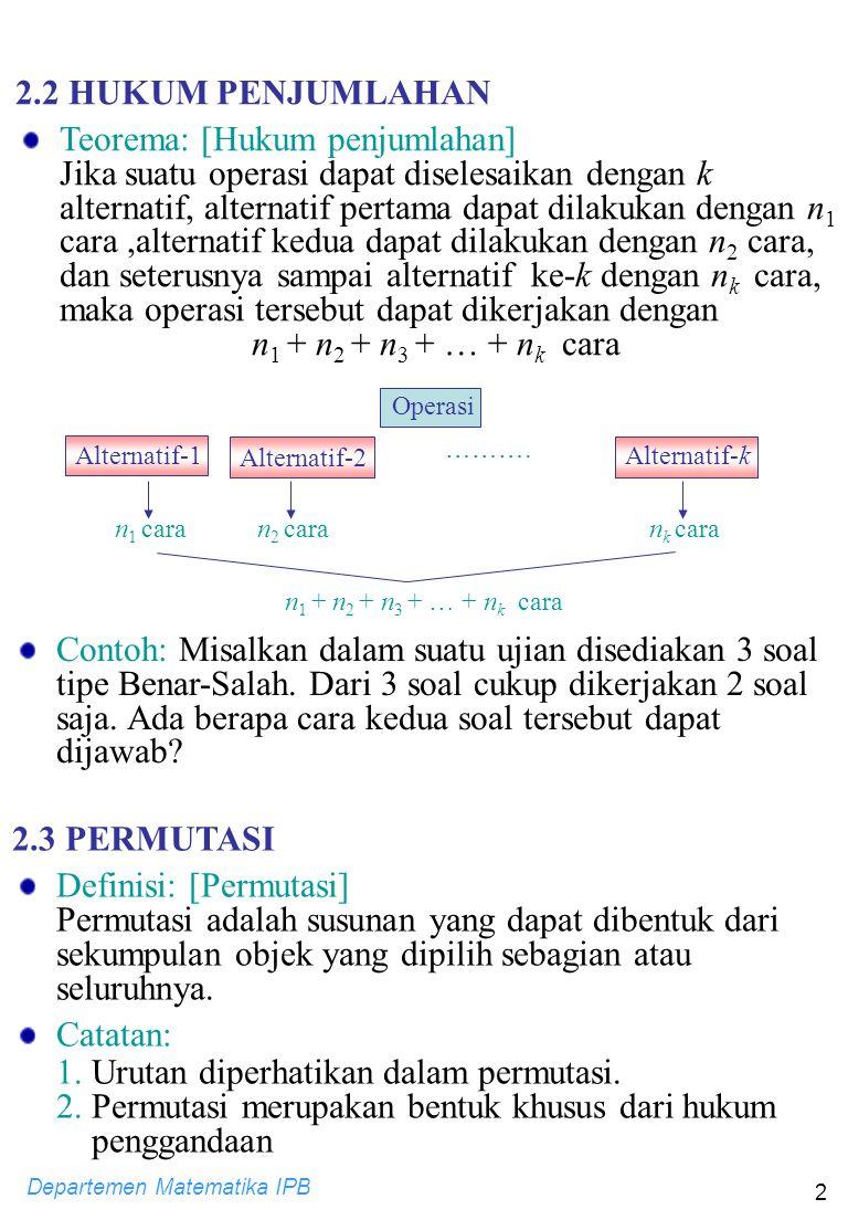 Teorema: [Hukum penjumlahan]